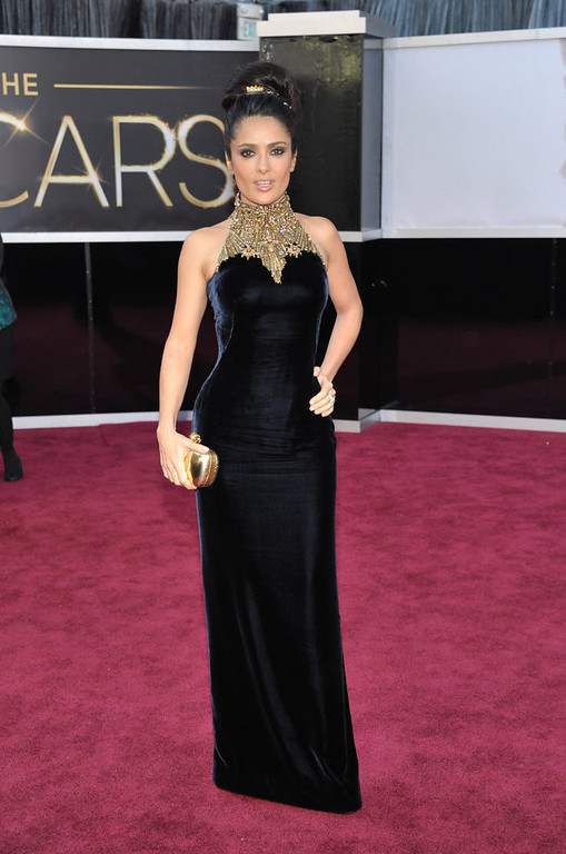 . Actress Salma Hayek arrives at the Oscars at the Dolby Theatre on Sunday Feb. 24, 2013, in Los Angeles. (Photo by John Shearer/Invision/AP)