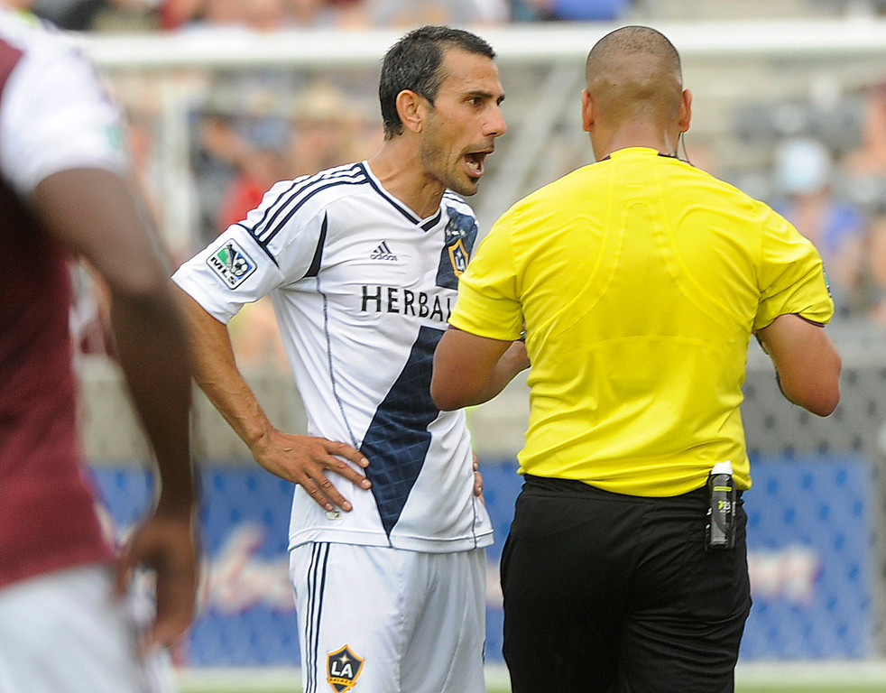 . COMMERCE CITY, CO. - JULY 27:  Galaxy midfielder Pablo Mastroeni expressed his disagreement to a call after he was issued a yellow card in the first half. The Colorado Rapids hosted the Los Angeles Galaxy Saturday, July 27, 2013.  Photo By Karl Gehring/The Denver Post