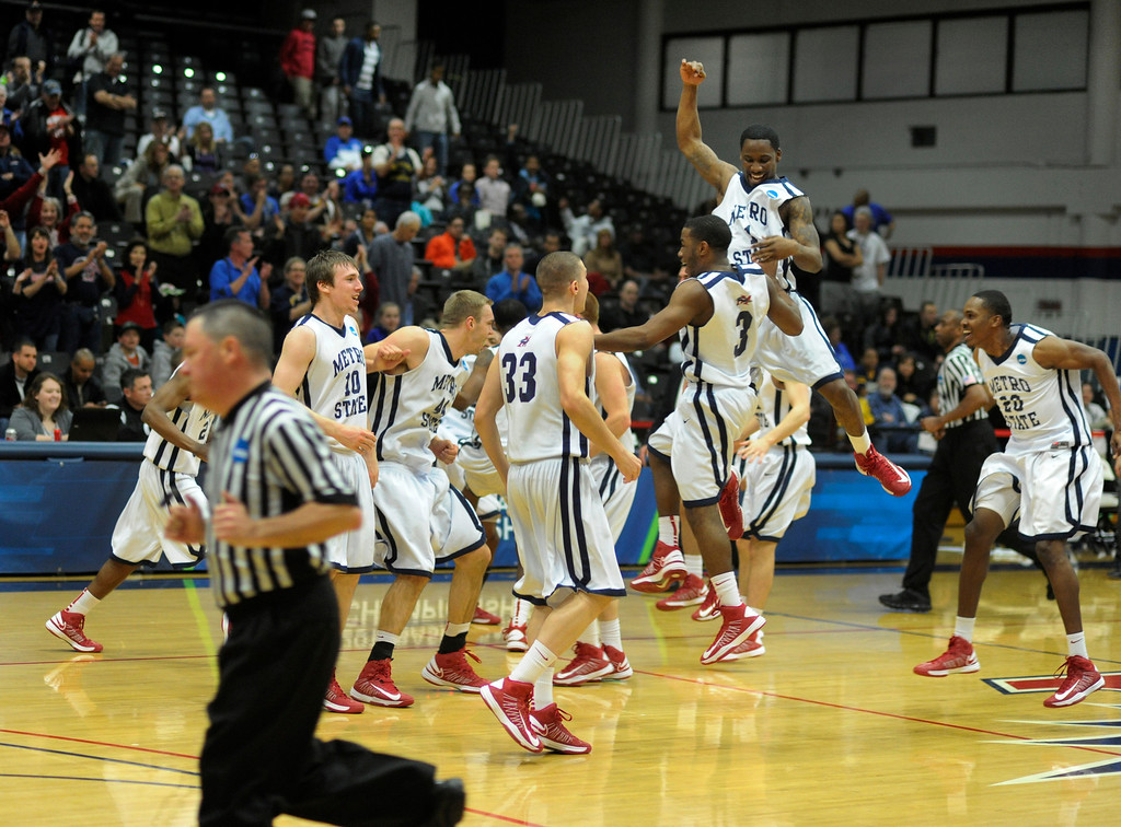 . DENVER, CO. - MARCH 19: The Metro State men\'s basketball team defeated St. Mary\'s (Texas) 78-70 in a RMAC playoff game Tuesday night, March 19, 2013. With the win the Roadrunners secured the South Central regional championship (Photo By Karl Gehring/The Denver Post)