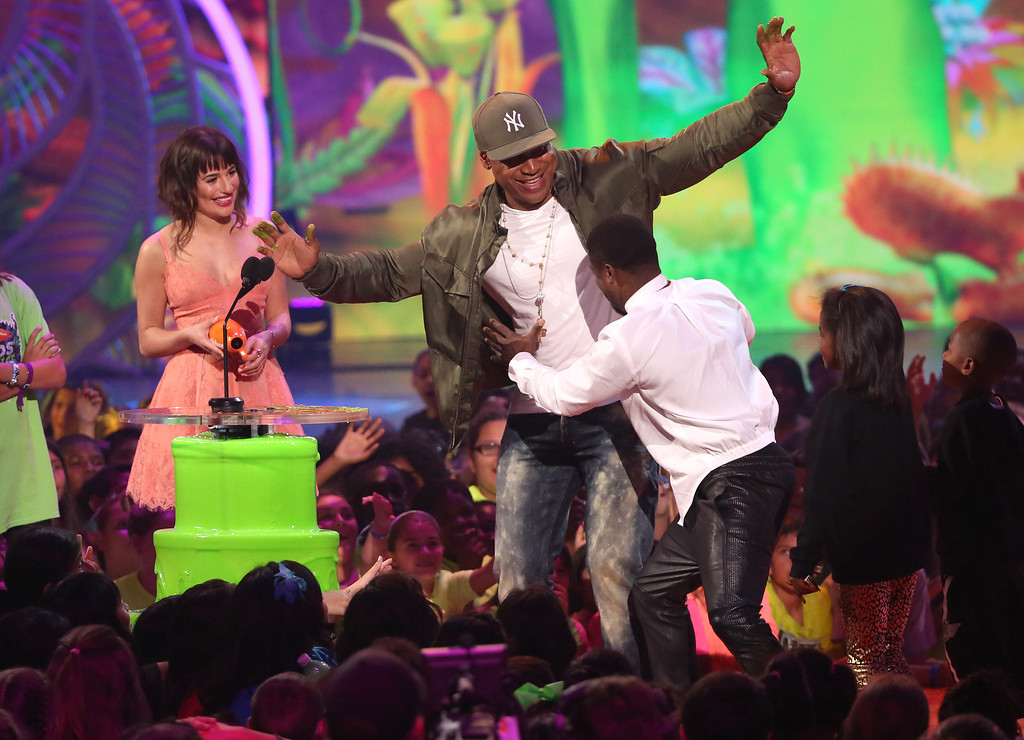 . From left, Lea Michele, LL Cool J and Kevin Hart at the 27th annual Kids\' Choice Awards at the Galen Center on Saturday, March 29, 2014, in Los Angeles. (Photo by Matt Sayles/Invision/AP)