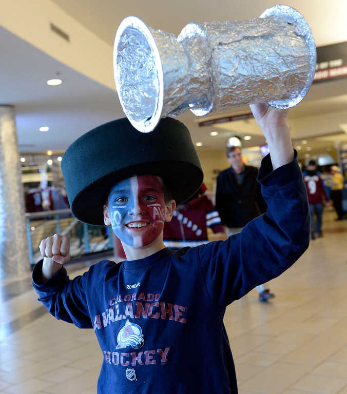 . Aden Tilton, age 8, of Northglenn, CO gets pumped up prior to the first playoff game.  The Colorado Avalanche hosted the Minnesota Wild for the first playoff game at the Pepsi Center on Thursday, April 17, 2014. (Photo by John Leyba/The Denver Post)