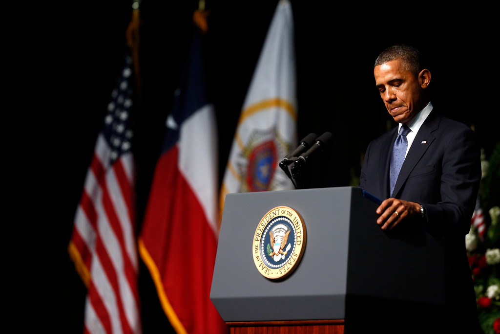. President Barack Obama speaks at the memorial for firefighters killed at the fertilizer plant explosion in West, Texas, at Baylor University in Waco, Texas, Thursday, April 25, 2013. (AP Photo/Charles Dharapak)