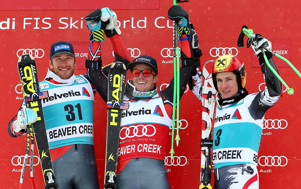 . From left, Bode Miller, Ted Ligety and Austria\'s Marcel Hirscher pose on the podium after completing the second run of the men\'s World Cup giant slalom skiing event, Sunday, Dec. 8, 2013, in Beaver Creek, Colo. Ligety took first place followed by Miller in second and Hirscher in third. (AP Photo/Alessandro Trovati)