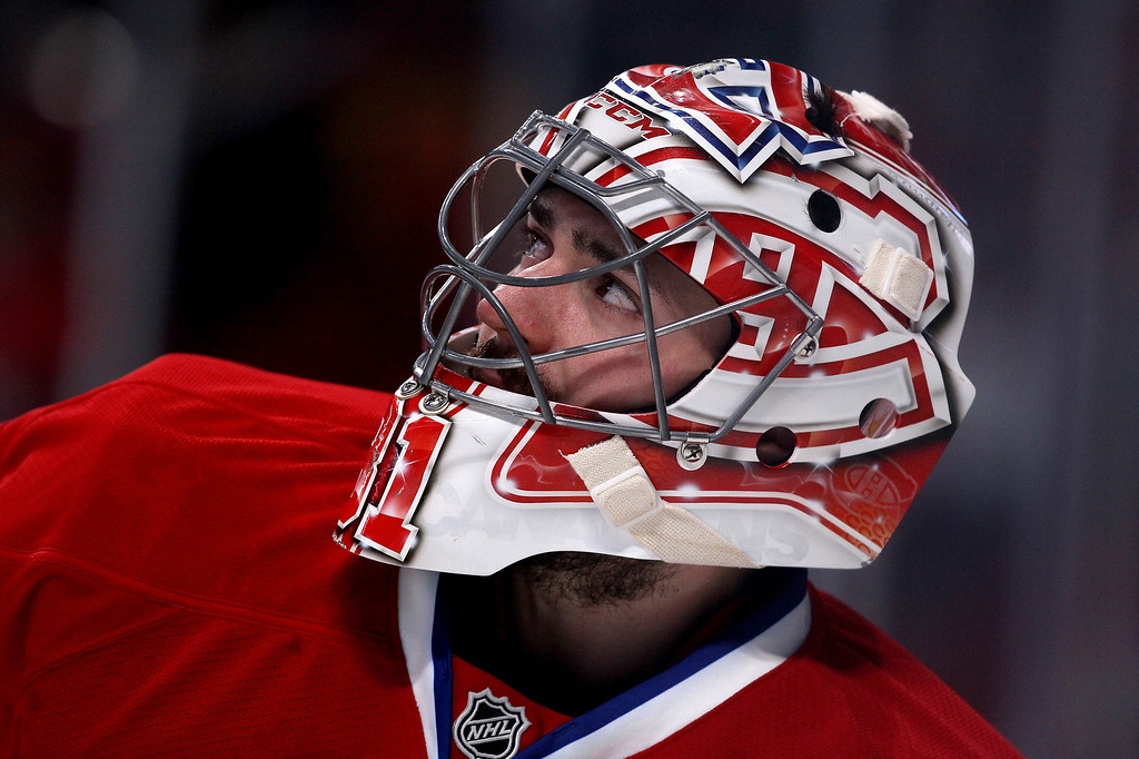 . MONTREAL, QC - MAY 17:  Goaltender Carey Price #31 of the Montreal Canadiens looks on while taking on the New York Rangers in Game One of the Eastern Conference Finals of the 2014 NHL Stanley Cup Playoffs at the Bell Centre on May 17, 2014 in Montreal, Canada.  (Photo by Bruce Bennett/Getty Images)