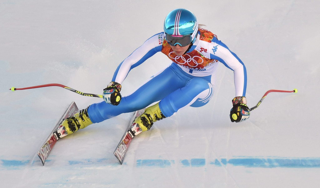 . Francesca Marsaglia of Italy in action during the Downhill portion of the Women\'s Super Combined race at the Rosa Khutor Alpine Center during the Sochi 2014 Olympic Games, Krasnaya Polyana, Russia, 10 February 2014.  EPA/JUSTIN LANE