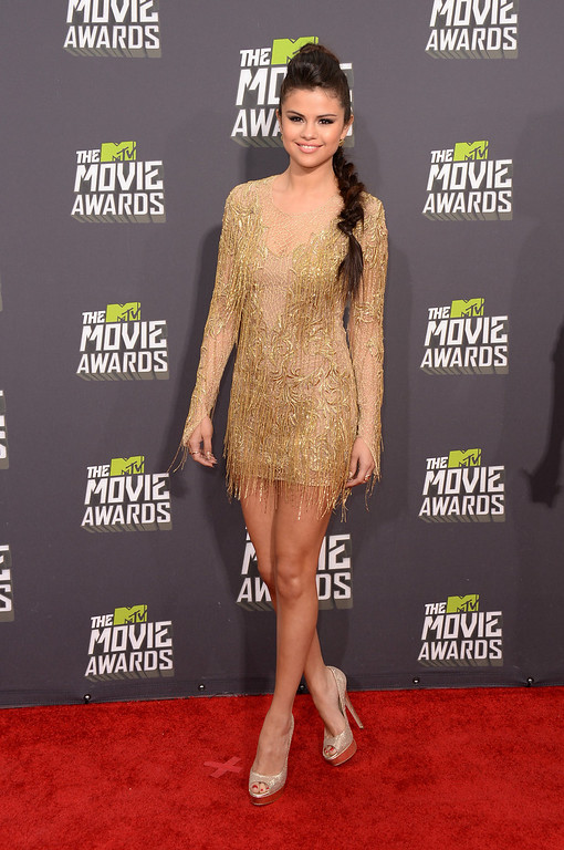 . Actress-singer Selena Gomez arrives at the 2013 MTV Movie Awards at Sony Pictures Studios on April 14, 2013 in Culver City, California.  (Photo by Jason Merritt/Getty Images)