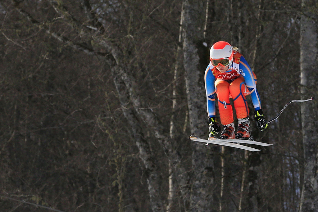 . Norway\'s Ragnhild Mowinckel competes during the Women\'s Alpine Skiing Super Combined Downhill at the Rosa Khutor Alpine Center during the Sochi Winter Olympics on February 10, 2014.          AFP PHOTO / ALEXANDER KLEIN/AFP/Getty Images