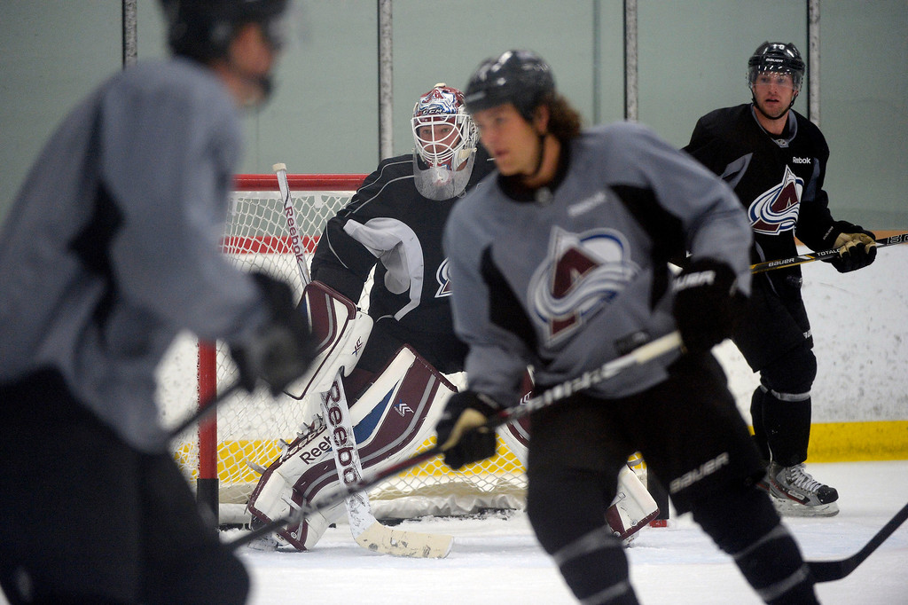 . Colorado Avalanche G J.S. Giguere (35) in goal during practice September 10, 2013 at Family Sports Ice Arena.(Photo By John Leyba/The Denver Post)