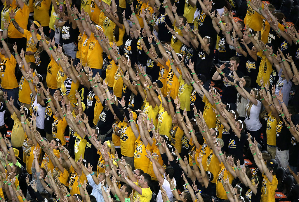 . ATLANTA, GA - APRIL 06:  Fans of the Wichita State Shockers support their team against the Louisville Cardinals during the 2013 NCAA Men\'s Final Four Semifinal at the Georgia Dome on April 6, 2013 in Atlanta, Georgia.  (Photo by Streeter Lecka/Getty Images)