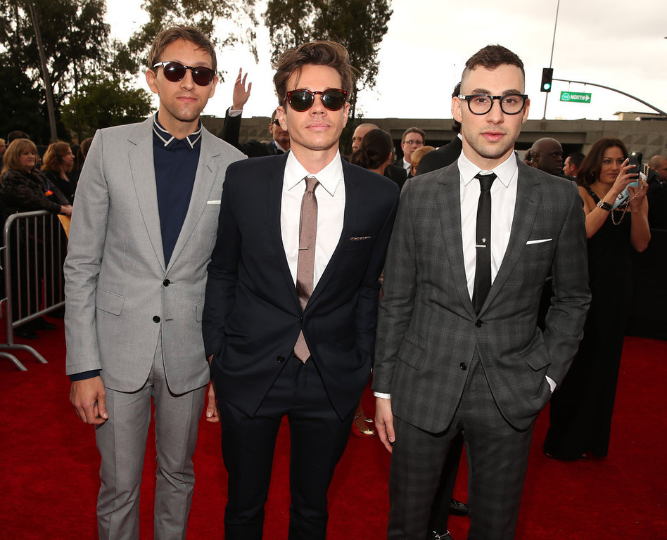 . Musician Andrew Dost, ssinger Nate Ruess and guitarist Jack Antonoff of fun. attend the 55th Annual GRAMMY Awards at STAPLES Center on February 10, 2013 in Los Angeles, California.  (Photo by Christopher Polk/Getty Images for NARAS)