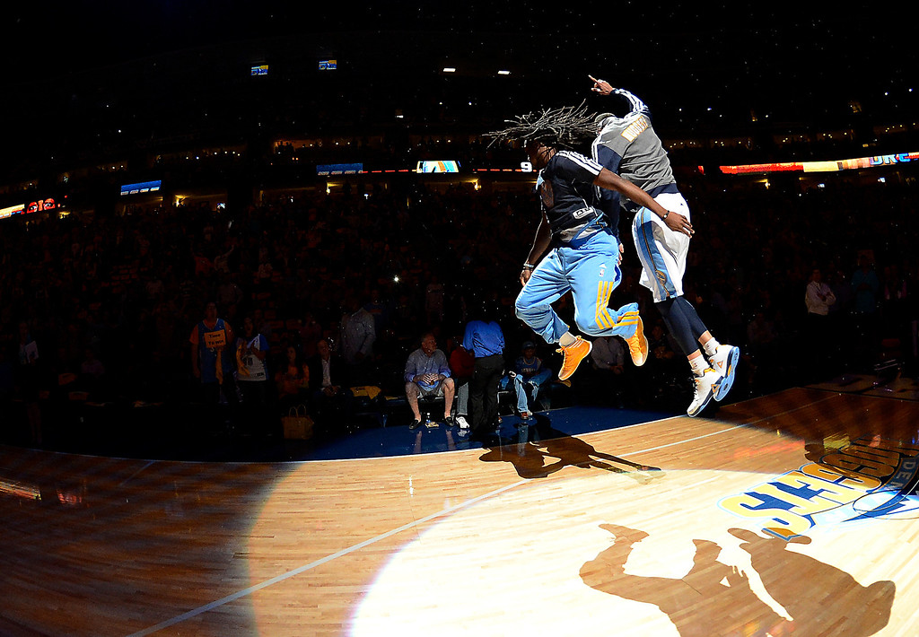 . Denver Nuggets small forward Kenneth Faried (35) jumps up against Denver Nuggets center JaVale McGee (34) before the start of the game.  The Denver Nuggets took on the Golden State Warriors in Game 5 of the Western Conference First Round Series at the Pepsi Center in Denver, Colo. on April 30, 2013. (Photo by John Leyba/The Denver Post)