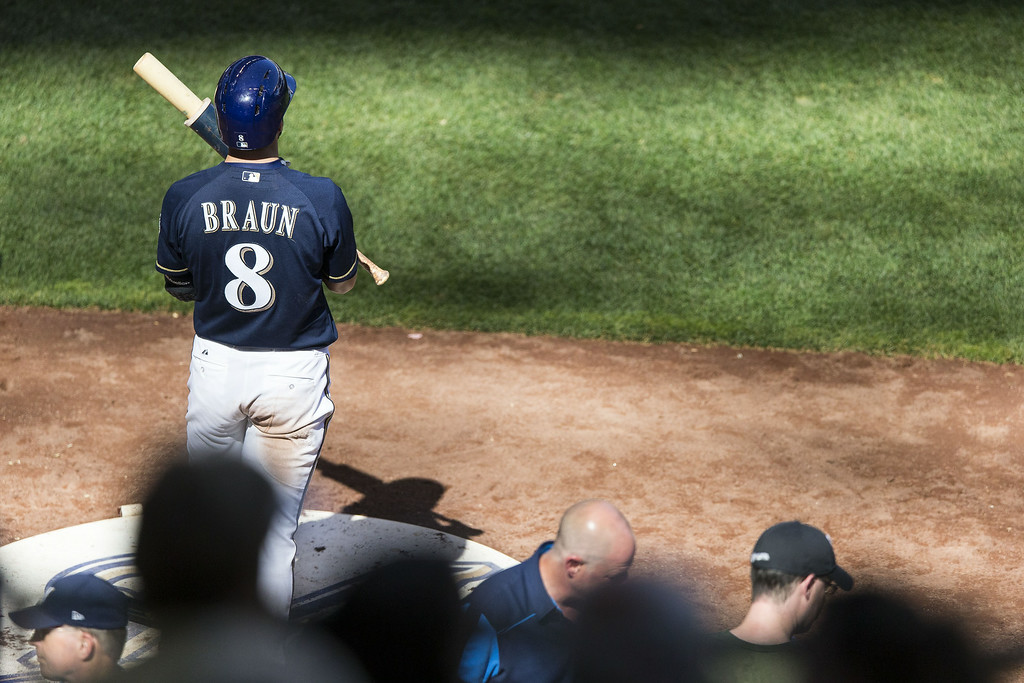 . Ryan Braun #8 of the Milwaukee Brewers warms up before an at bat against the Colorado Rockies at Miller Park on June 29, 2014 in Milwaukee, Wisconsin.  (Photo by Tom Lynn/Getty Images)