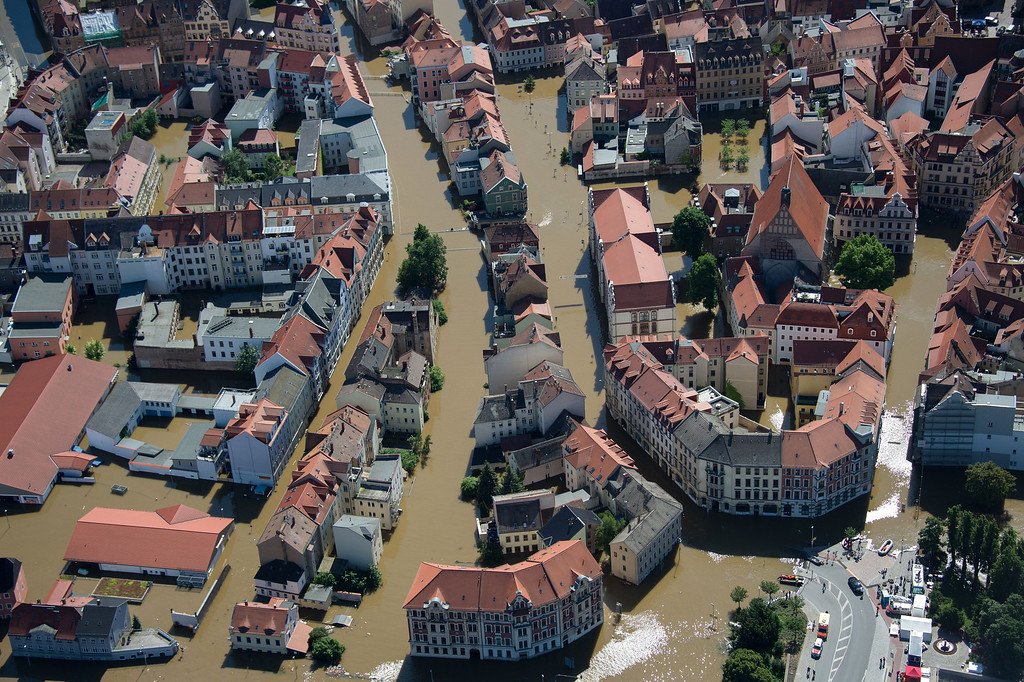 . Aerial view shows a boat with rescue personal making their way through the flooded city of Meissen, eastern Germany, on June 5, 2013.  AFP PHOTO / JOHANNES  EISELE/AFP/Getty Images