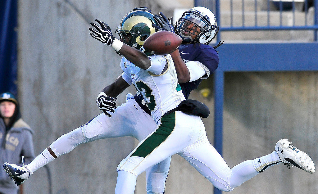 . Colorado State\'s Bernard Blake (23) breaks up a play intended for Utah State\'s Travis Reynolds (8) during an NCAA college football game, Saturday, Nov. 23, 2013, in Logan, Utah. Utah State won 13-0. (AP Photo/Herald Journal, John Zsiray)