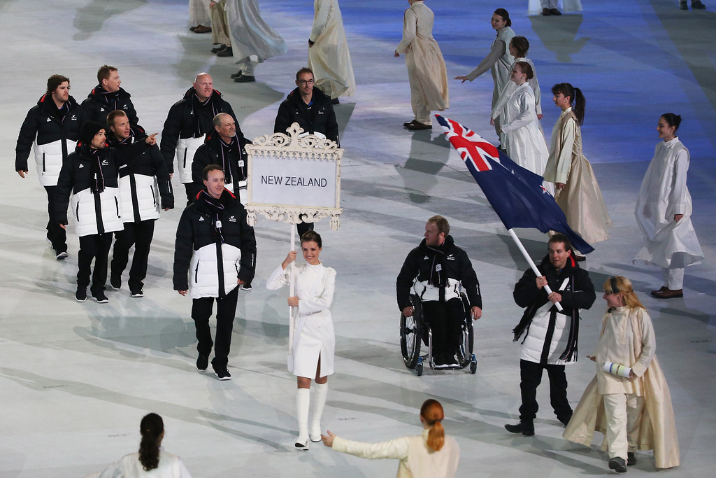 . New Zealand enter the arena lead by flag bearer Adam Hall during the Opening Ceremony of the Sochi 2014 Paralympic Winter Games at Fisht Olympic Stadium on March 7, 2014 in Sochi, Russia.  (Photo by Ian Walton/Getty Images)