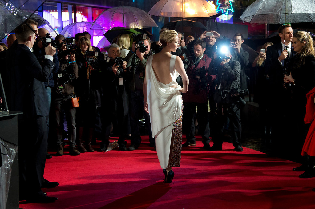 . U.S actress Jennifer Lawrence arrives on the red carpet for the World Premiere of Hunger Games: Catching Fire, at a central London cinema, Monday, Nov. 11, 2013. (Photo by Joel Ryan/Invision/AP)