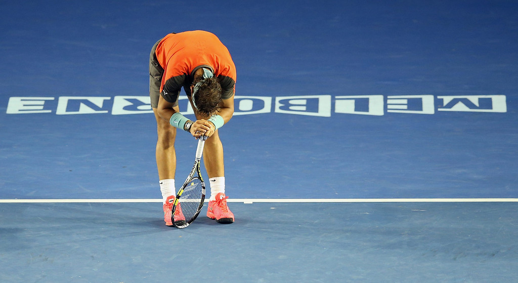 . Rafael Nadal of Spain during his match against Stanislas Wawrinka of Switzerland in the men\'s final at the Australian Open tennis tournament in Melbourne, Australia, 26 January 2014.  EPA/DAVID CROSLING