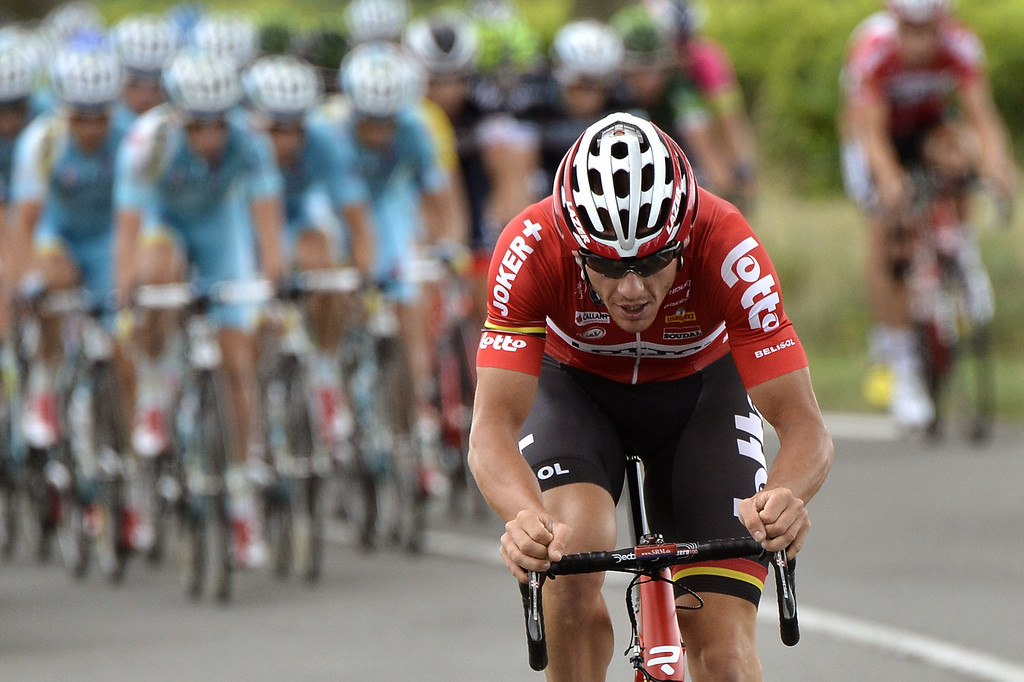 . Australia\'s Adam Hansen rides in a breakaway during the 237.5 km sixteenth stage of the 101st edition of the Tour de France cycling race on July 22, 2014 between Carcassonne and Bagneres-de-Luchon, southwestern France.  AFP PHOTO / JEFF PACHOUD/AFP/Getty Images