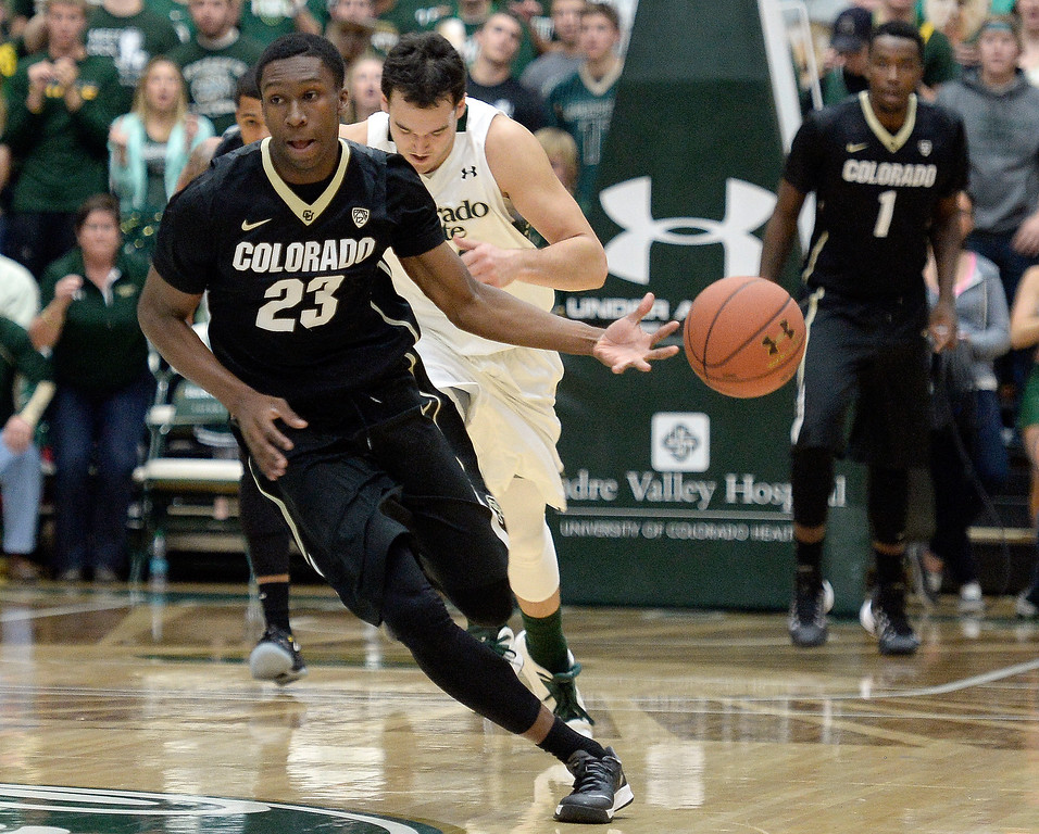 . Colorado\'s Jaron Hopkins dribbles the ball after a fast break during an NCAA game against CSU on Tuesday, Dec. 3, 2013, at the Moby Arena in Fort Collins. CU won the game 67-62.