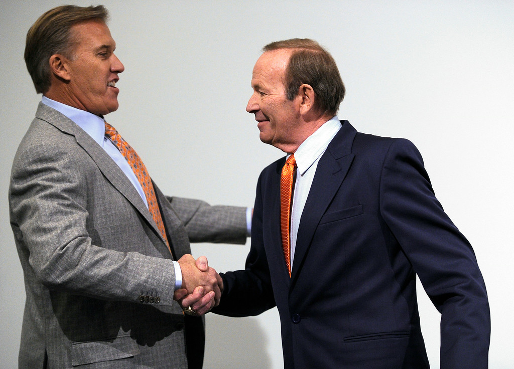 . The Denver Broncos on Wednesday January 5, 2011 named two-time Super Bowl champion and Pro Football Hall of Fame quarterback John Elway as Executive Vice President of Football Operations and appointed Joe Ellis as President, Broncos Owner and Chief Executive Officer Pat Bowlen announced at Dove Valley. John Leyba, The Denver Post