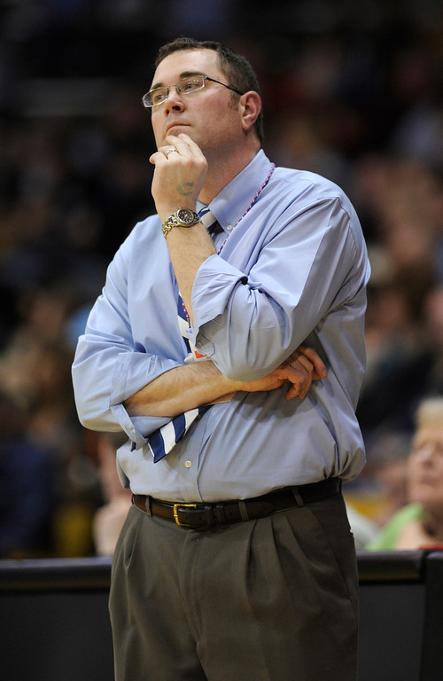 . BOULDER, CO. - MARCH 15: Broomfield coach Terrence Dunn watched as the Eagles\' lead dwindled late in the fourth quarter. The Valor Christian High School boy\'s basketball team stunned Broomfield 75-74 Friday night, March 15, 2013 at the Coors Events Center in Boulder.  (Photo By Karl Gehring/The Denver Post)