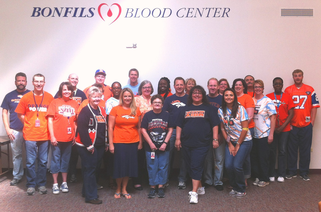 . Bonfils Blood Center is United in Orange supporting our friends and partners for Drive for Life XVI (10/22) the Denver Broncos as they kick off the 2013 NFL season tonight in Denver. Photo by Adelaide Naughton