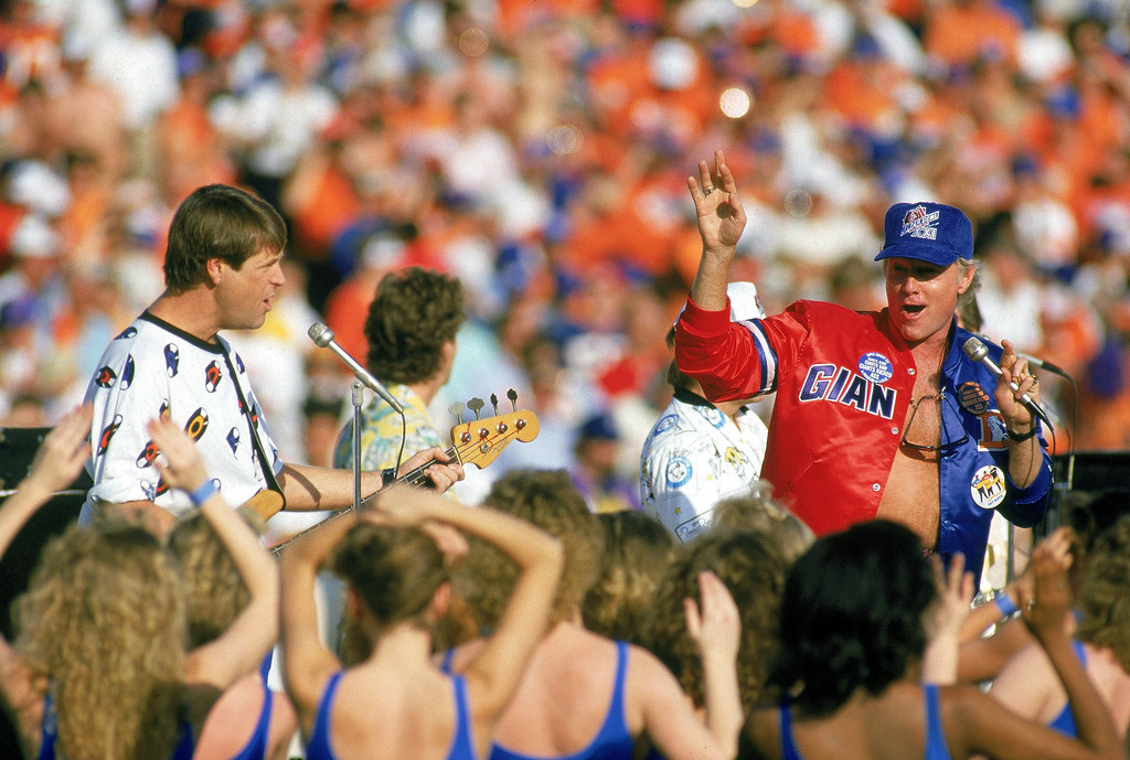 . The Beach Boys perform during the Pregame festivities before the New York Giants took on the Denver Broncos in Super Bowl XXI at Rose Bowl on January 25,1987 in Pasadena, California.  (Photo by George Rose/Getty Images)
