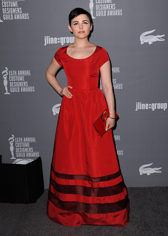 . Ginnifer Goodwin arrives at the 15th Annual Costume Designers Guild Awards at The Beverly Hilton Hotel on Tuesday, Feb. 19, 2013 in Beverly Hills. (Photo by Jordan Strauss/Invision/AP)