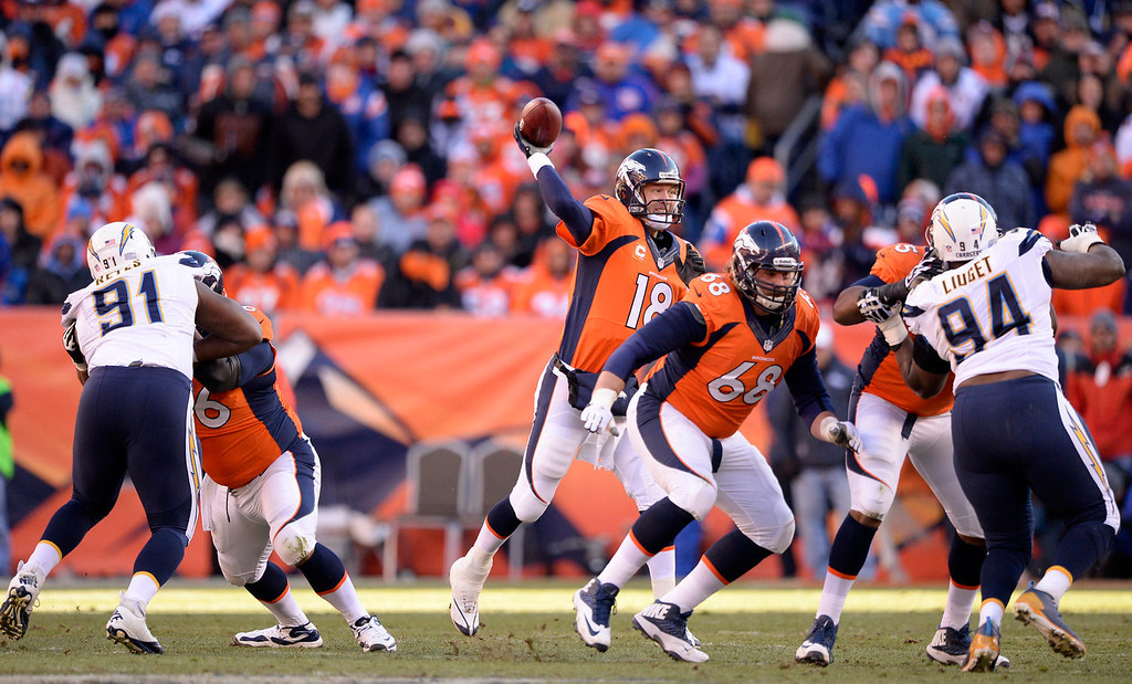 . Denver Broncos quarterback Peyton Manning (18) throws during the second quarter. The Denver Broncos vs. The San Diego Chargers in an AFC Divisional Playoff game at Sports Authority Field at Mile High in Denver on January 12, 2014. (Photo by John Leyba/The Denver Post)