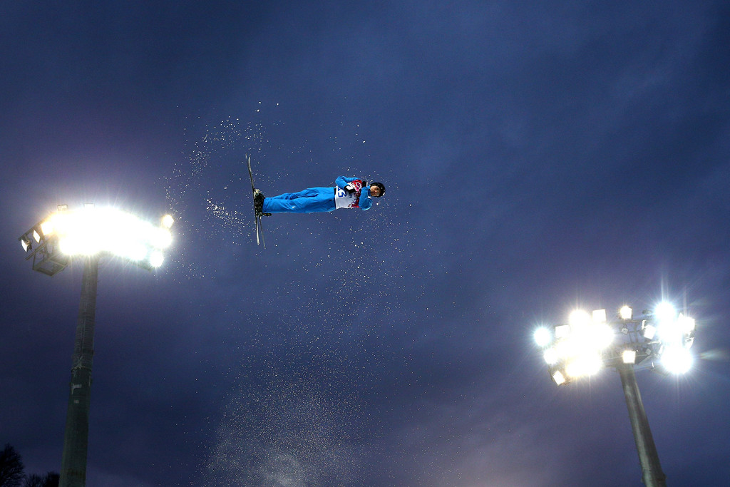 . Dmitri Dashinski of Belarus competes in the Freestyle Skiing Men\'s Aerials Qualification on day ten of the 2014 Winter Olympics at Rosa Khutor Extreme Park on February 17, 2014 in Sochi, Russia.  (Photo by Cameron Spencer/Getty Images)