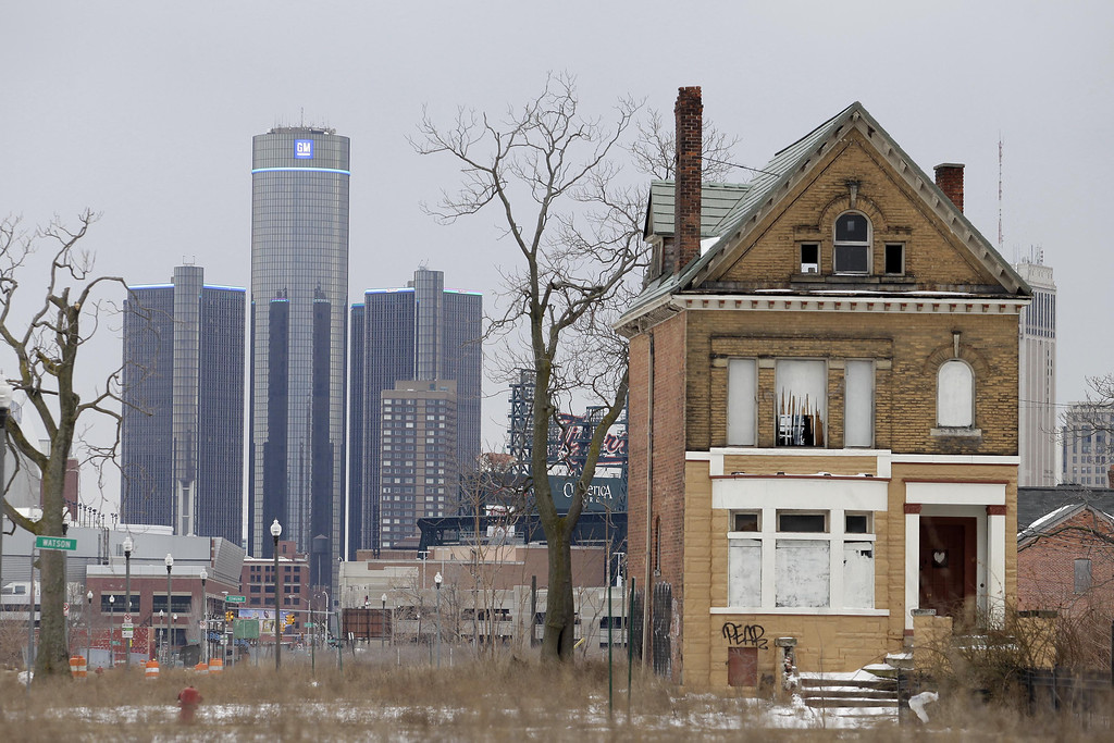 . Detroit filed for Chapter 9 bankruptcy Thursday, July 18, 2013, making it the largest city to file for bankruptcy in U.S. history. The General Motors (GM) world headquarters is seen February 24, 2013 in Detroit, Michigan. The city of Detroit has faced serious economic challenges in the past decade, with a shrinking population and tax base while trying to maintain essential services. (Photo by J.D. Pooley/Getty Images)