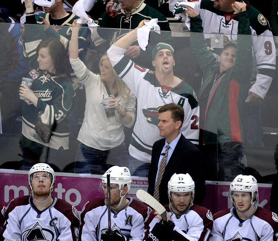 . Minnesota fans rubbed it as pulling the goalie in the third period didn\'t work out for the Avalanche Monday night. The Minnesota Wild defeated the Colorado Avalanche 5-2 Monday night, April 28, 2014 at the Xcel Energy Center in St. Paul. (Photo by Karl Gehring/The Denver Post)