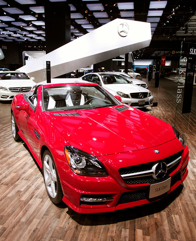 . The Mercedes-Benz SLK 250 is shown at the 2013 North American International Auto Show media preview January 15, 2013 in Detroit, Michigan. Approximately 6000 members of the media from 68 countries are attending the show this year. The 2013 NAIAS opens to the public  January 19th. (Photo by Bill Pugliano/Getty Images)