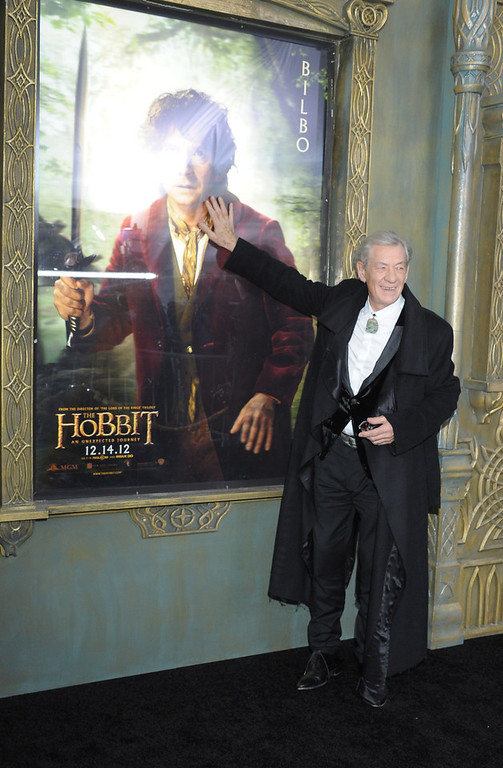 """. Sir Ian McKellen attends \""""The Hobbit: An Unexpected Journey\"""" New York Premiere Benefiting AFI at Ziegfeld Theater on December 6, 2012 in New York City.  (Photo by Michael Loccisano/Getty Images)"""
