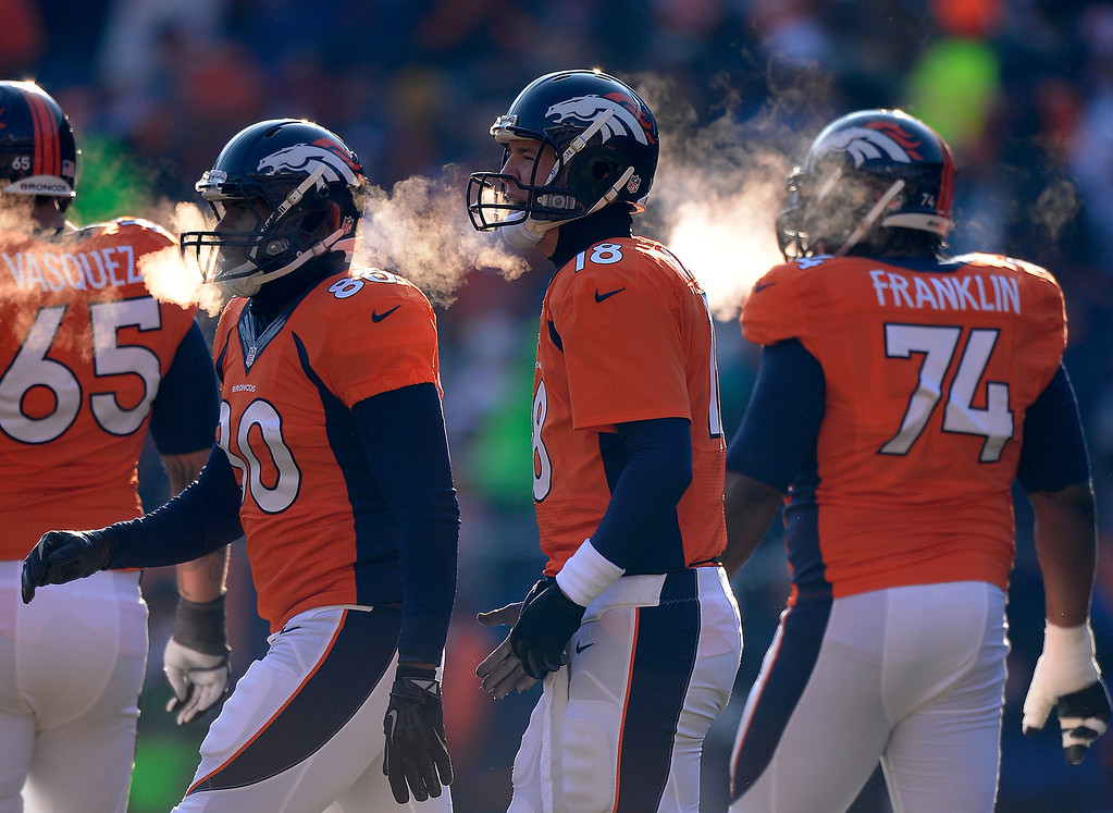 . DENVER, CO - DECEMBER 08: Denver Broncos quarterback Peyton Manning (18) and the offense head to the line in the first quarter. The Denver Broncos take on the Tennessee Titans at Sports Authority Field at Mile High in Denver on December 8, 2013. (Photo by John Leyba/The Denver Post)