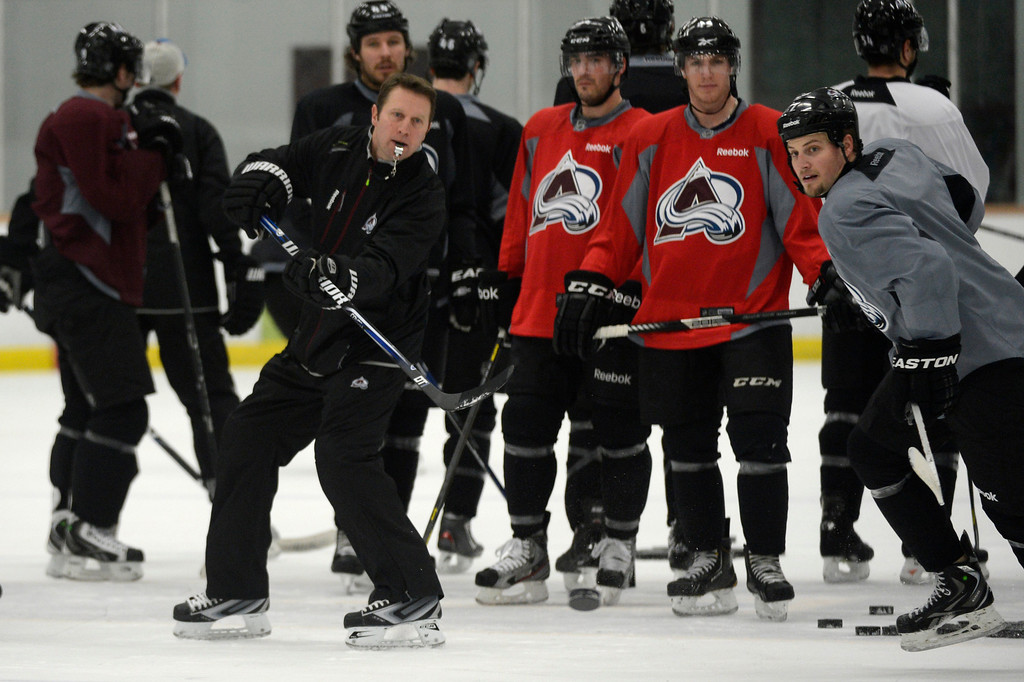 . Avalanche head coach Joe Sacco leads training camp practice at Family Sports Center in Centennial, Colorado, Monday, January 14,  2013.    Joe Amon, The Denver Post