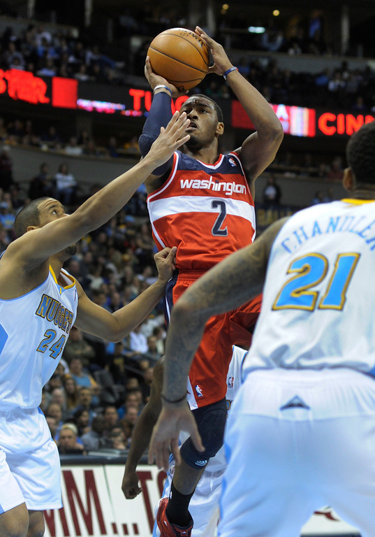 . DENVER, CO - JANUARY 18: Washington guard John Wall (2) put up a jumper in the second half. The Washington Wizards defeated the Denver Nuggets 112-108 at the Pepsi Center Friday night, January 18, 2013. Karl Gehring/The Denver Post