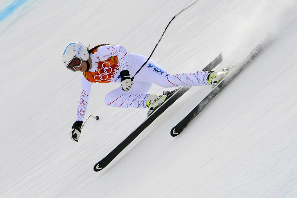 . Julia Mancuso of the USA competes during the Alpine Skiing Women\'s Super Combined at the Sochi 2014 Winter Olympic Games at Rosa Khutor Alpine Centre on February 10, 2014 in Sochi, Russia. (Photo by Alain Grosclaude/Agence Zoom/Getty Images)