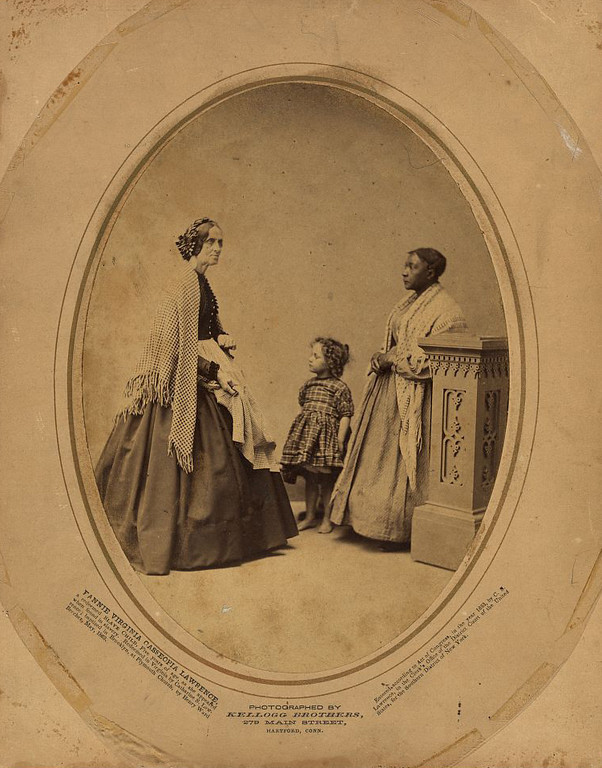 . Fannie Virginia Casseopia Lawrence, a redeemed slave child, five years of age as she appeared when found in slavery. Redeemed in Virginia by Catharine [i.e., Catherine] S. Lawrence; baptized in Brooklyn, at Plymouth Church by Henry Ward Beecher, May 1863 / photographed by Kellogg Brothers, 279 Main Street, Hartford Conn.  Library of Congress