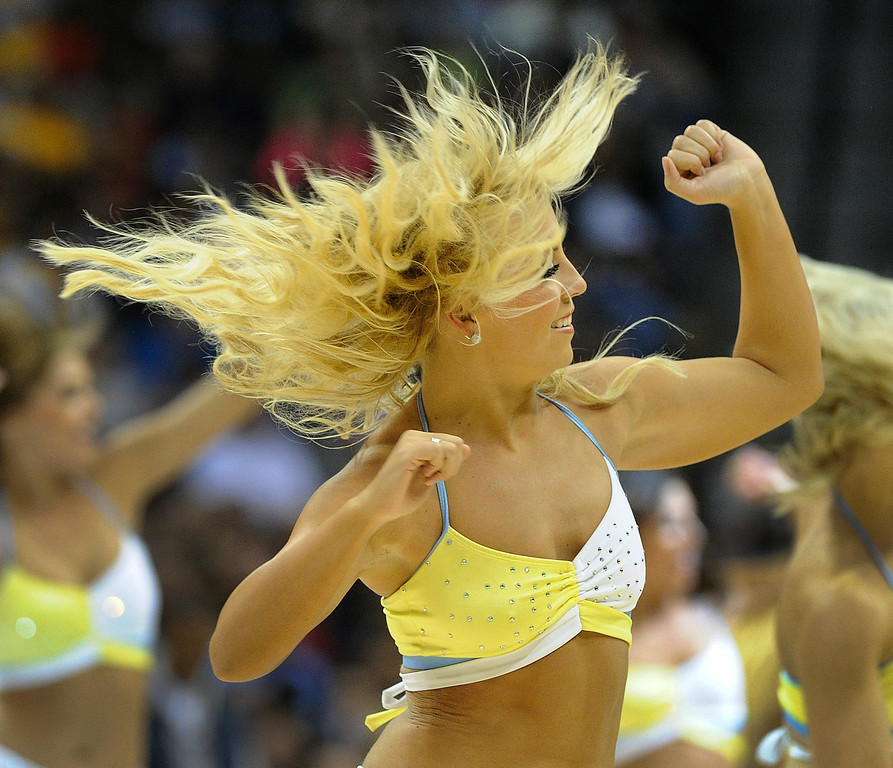 . DENVER, CO. - MARCH 29: The Nuggets Dancers performed during a time out in the fourth quarter. The Denver Nuggets defeated the Brooklyn Nets 109-87 Friday night, March 29, 2013 at the Pepsi Center in Denver.  (Photo By Karl Gehring/The Denver Post)