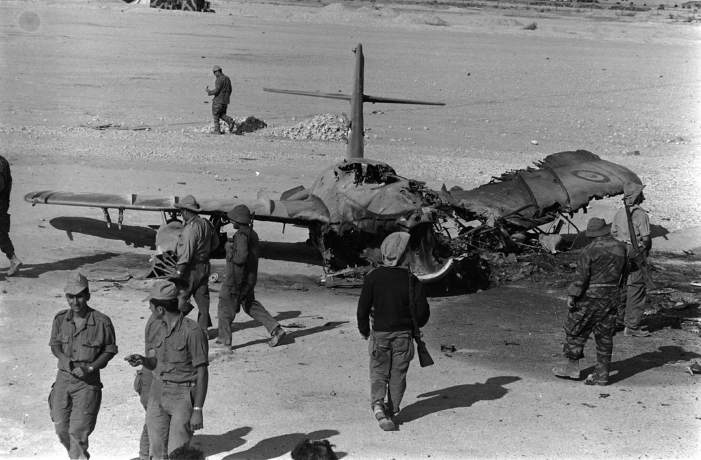 . A burnt out Egyptian aircraft at El Auth airport, Sinai, during the Six Day War.   (Photo by Express Newspapers/Getty Images)