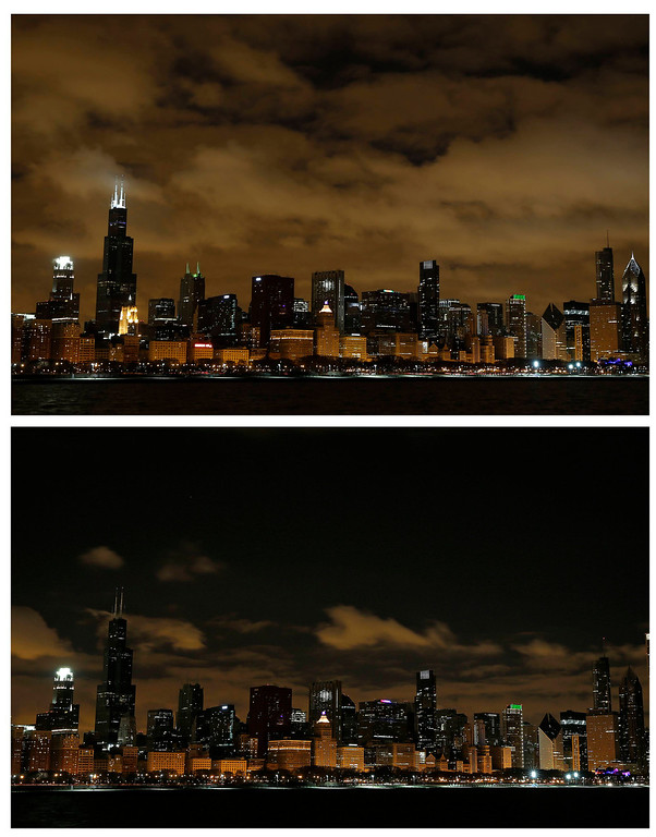 . The Chicago skyline is seen before (top) and during Earth Hour in Chicago, Illinois, in this combination picture made March 23, 2013. Earth Hour, when everyone around the world is asked to turn off lights for an hour from 8.30 p.m. local time, is meant as a show of support for action to confront climate change. REUTERS/Jim Young
