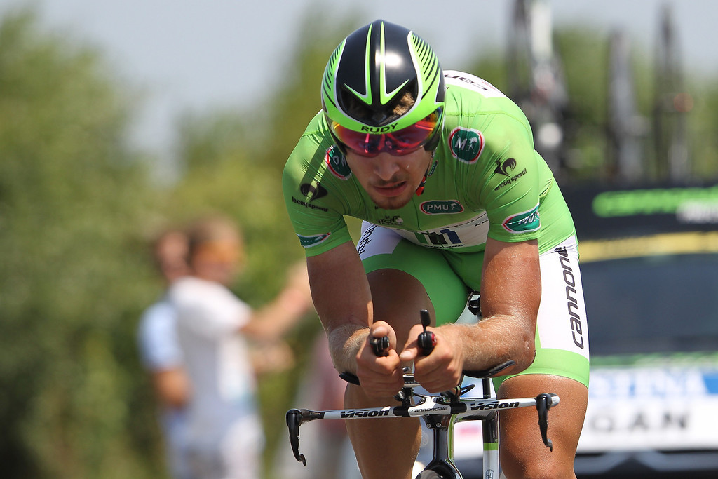 . Slovakia\'s Peter Sagan is about to cross the finish line at the end of the 33 km individual time-trial and eleventh stage of the 100th edition of the Tour de France cycling race on July 10, 2013 between Avranches and Mont-Saint-Michel, northwestern France.    CHARLY TRIBALLEAU/AFP/Getty Images
