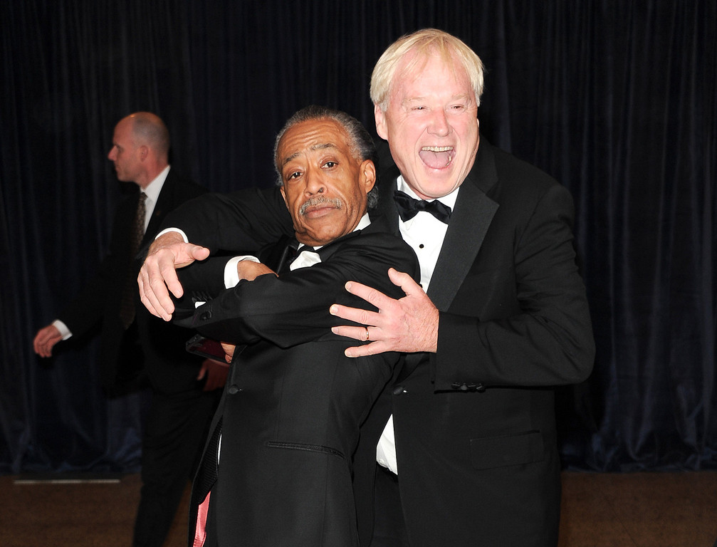 . The Rev. Al Sharpton, left, and news anchor Chris Matthews attend the White House Correspondents\' Dinner at the Washington Hilton on Saturday April 27, 2013 in Washington. (Photo by Evan Agostini/Invision/AP)
