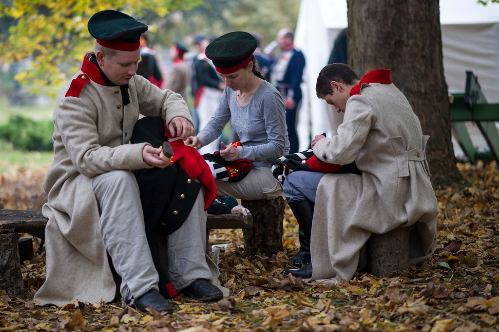 . Historical society enthusiasts from Russia in the role of Russian light infantry prepare to commemorate the 200th anniversary of The Battle of Nations on October 18, 2013 in Leipzig, Germany.  (Photo by Jens Schlueter/Getty Images)