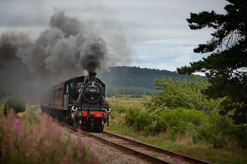 . Henry Leese drives a 1952 British Rail Ivatt number 46512 at Strathspey Steam Railway on August 27, 2013 in Aviemore,Scotland. (Photo by Jeff J Mitchell/Getty Images)