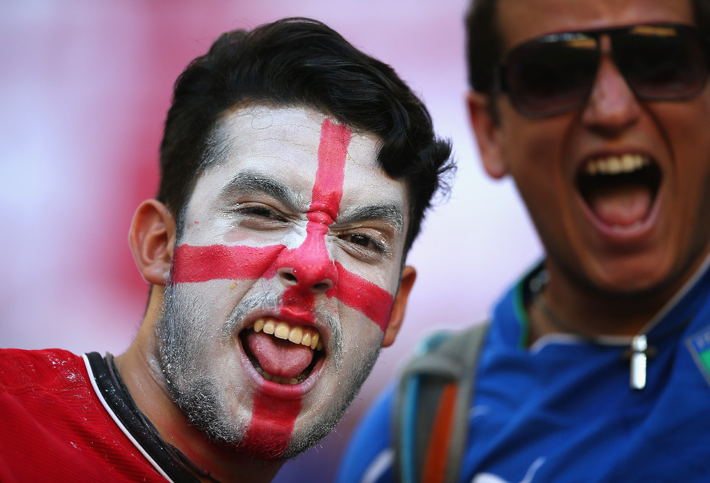 . England fans show support prior to the 2014 FIFA World Cup Brazil Group D match between England and Italy at Arena Amazonia on June 14, 2014 in Manaus, Brazil.  (Photo by Richard Heathcote/Getty Images)