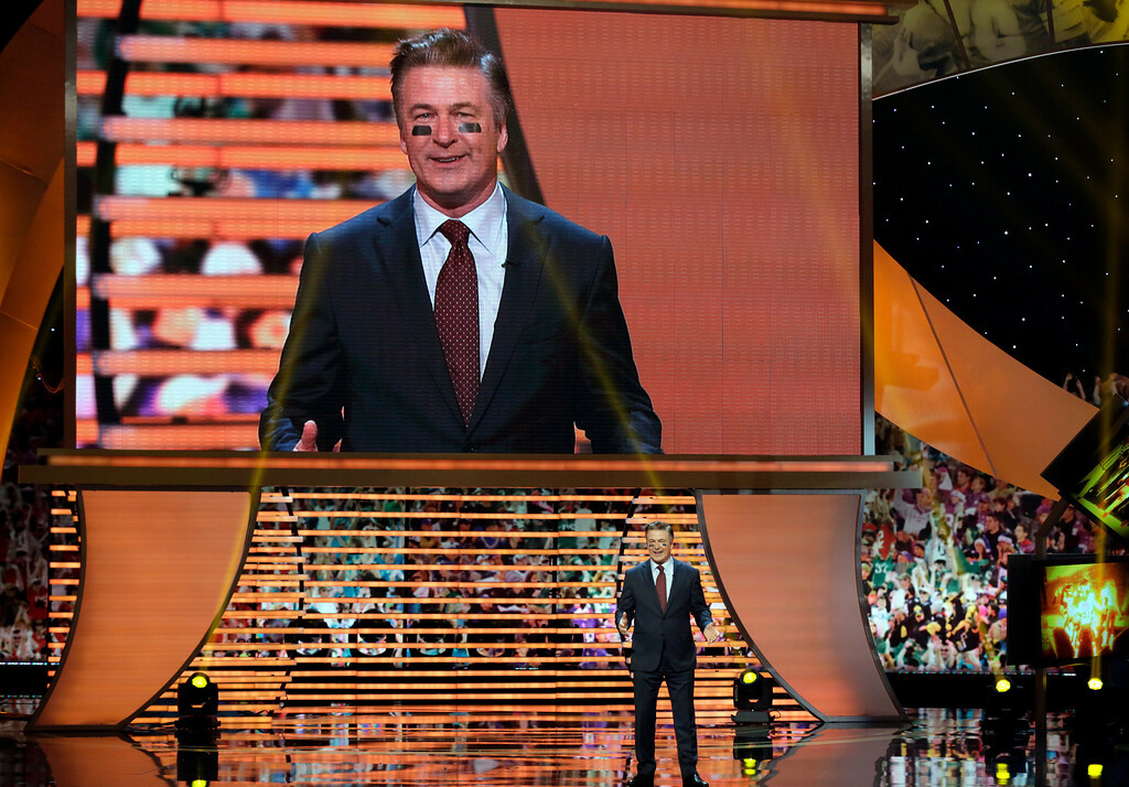 . Host Alec Baldwin appears on stage at the 2nd Annual NFL Honors on Saturday, Feb. 2, 2013 in New Orleans. (Photo by AJ Mast/Invision/AP)