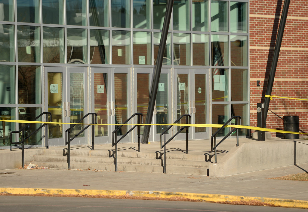 . Arapahoe High School cancels classes until after the new year, December 16, 2013. The school was the scene of a shooting on Friday that left a student gunman dead and two other students injured. (Photo by RJ Sangosti/The Denver Post)