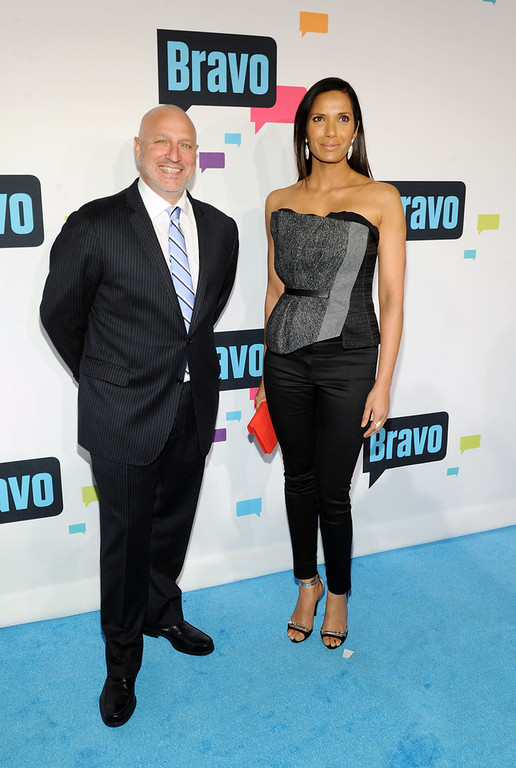 . Tom Colicchio and Padma Lakshmi attend the 2013 Bravo New York Upfront at Pillars 37 Studios on April 3, 2013 in New York City.  (Photo by Craig Barritt/Getty Images)